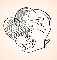 Mother Breastfeeding Baby Child vector image