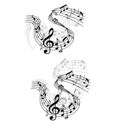 Music notes waves and compositions vector
