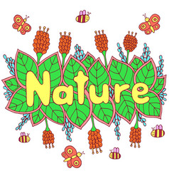 Nature word - colorful lettering art doodle vector