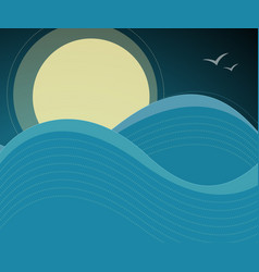 night sky birds and ocean waves background vector image