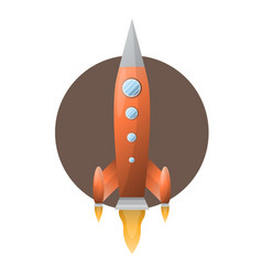 orange space rocket with blue portholds on brown vector image