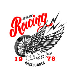 outlaw racing emblem template with winged wheel vector image