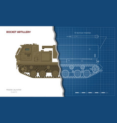 Outline blueprint missile vehicle vector