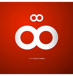 Paper Infinity Symbol on Red Background vector