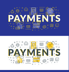 payments flat line concept for web banner and vector image