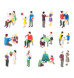 people with gifts isometric icons vector image