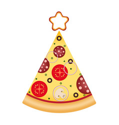 Pizza slice in tree shape with star on top vector