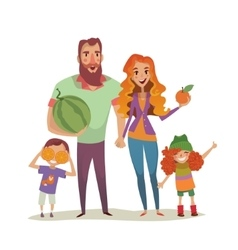 Positive couple with two children and fruits vector image