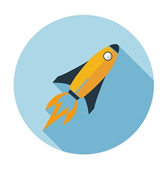rocket flat icon long shadow vector image