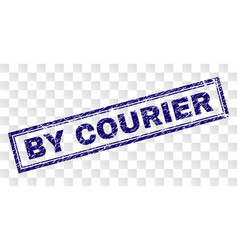 Scratched by courier rectangle stamp vector