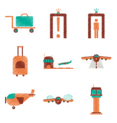 set of flat icons in shading style airport vector image