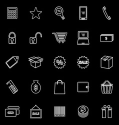 Shopping line icons on black background vector image