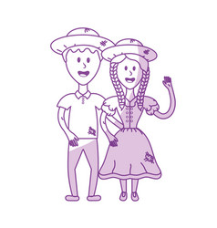 Silhouette cute brazilian couple with hat and vector