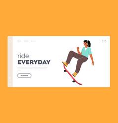 skateboarding hobby landing page template female vector image