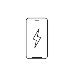 smartphone with lightning battery charging linear vector image