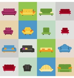 Sofa and armchair icons vector