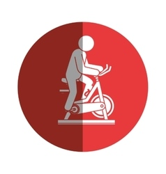 spinning bike fitness silhouette vector image