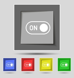 start icon sign on original five colored buttons vector image