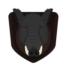 Stuffed taxidermy wild boar head vector image
