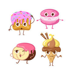 Sweets collections different buns and ice vector