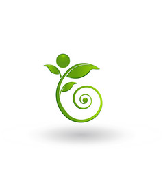Swirly leaf figure icon logo vector