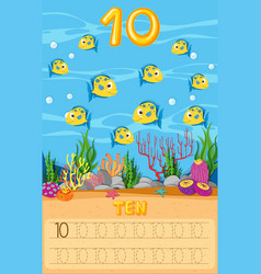 Ten fish underwater worksheet vector