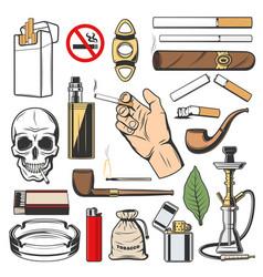 Tobacco icons smoking cigarettes and vapes vector