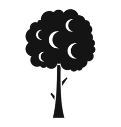 Tree with spherical crown icon simple style vector