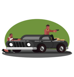 two mans skirmish on car vector image