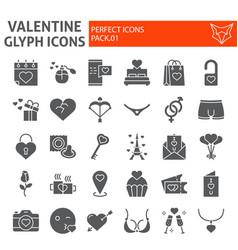 valentine glyph icon set romantic symbols vector image