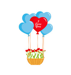 valentines day balloons hearts and basket vector image