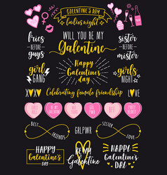 valentines day galentines day female party set vector image