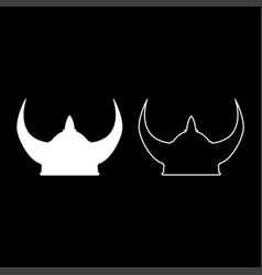 viking helmet icon set white color flat style vector image