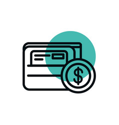 wallet bank card coin money shopping line style vector image