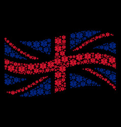 waving united kingdom flag pattern of life star vector image