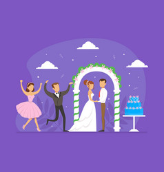 wedding ceremony romantic newlywed couple vector image