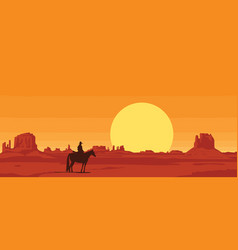 Western landscape with silhouette a lone vector