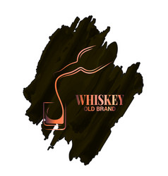 Whiskey glass and bottle watercolor logo on white vector