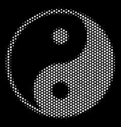 white halftone yin yang icon vector image