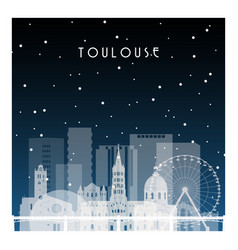 winter night in toulouse night city in flat style vector image