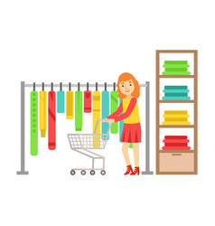 Woman shopping in clothes store colorful vector