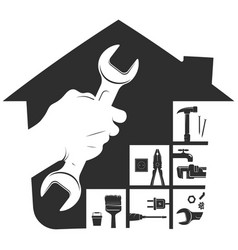 Wrench in hand repair and service symbol vector