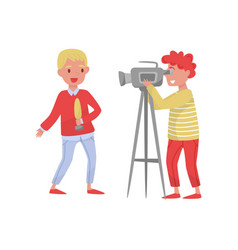 young reporter with microphone and man with camera vector image