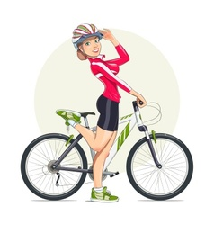 Beautiful girl in helmet with vector image