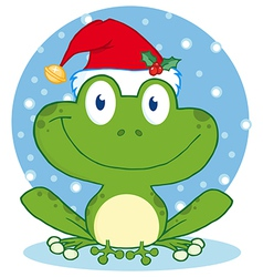 Christmas Happy Frog vector image