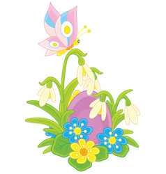 Easter egg flowers and butterfly vector