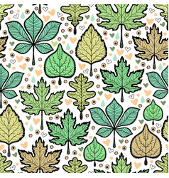 hand drawn green leaves seamless pattern vector image