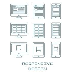 Line icons set flat design responsive web vector image