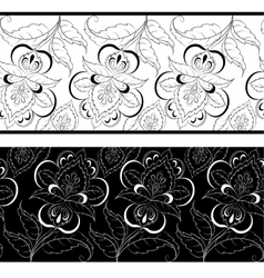 Seamless outline floral background vector image vector image