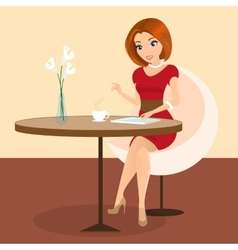 Young pretty woman sitting alone in the cafe and vector image